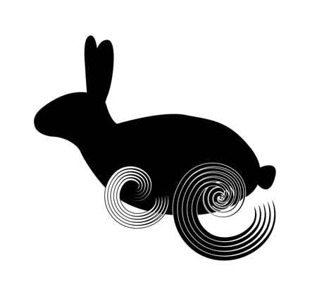 silhouette lapin: Silhouette noire d'un lapin qui court isolé sur le fond blanc