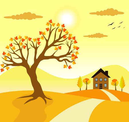 View of autumn season in village with tree and brown house in orange background vector illustration. Ilustrace