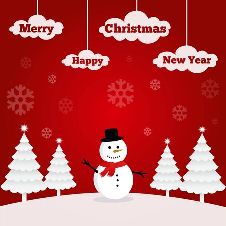 Illustration of a snowman on Christmas. Red background with snowflakes. Merry Christmas and Happy New Year.