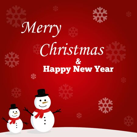 Illustration of two snowman on a red background. Merry Christmas and Happy New Year for 2020. Vector Illustration