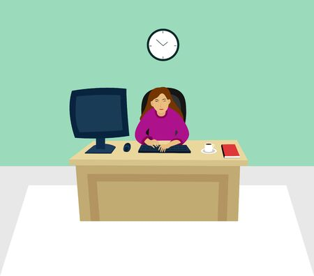 Illustration of a woman employee works in an office vector. Computer, red book and, coffe.