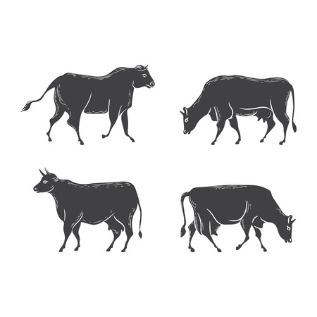 Vector silhouettes of cows Иллюстрация