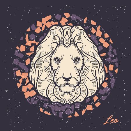 Zodiac sign Leo. The symbol of the astrological horoscope. Hand-drawn illustration.