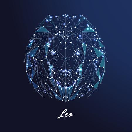 Zodiac sign Leo. The symbol of the astrological horoscope. Polygonal illustration Illustration