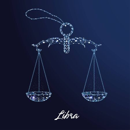 Zodiac sign Libra. The symbol of the astrological horoscope. Polygonal illustration