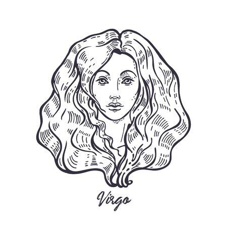 Segno zodiacale Vergine. Il simbolo dell'oroscopo astrologico. Vettoriali