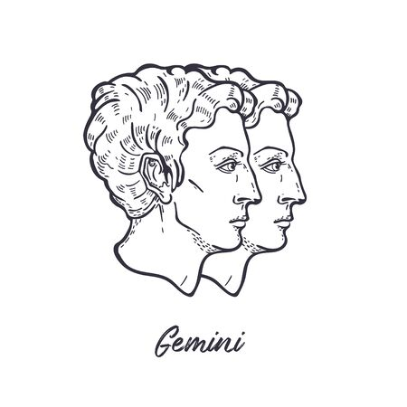 Gemini Zodiac constellation. The symbol of the astrological horoscope. Vettoriali