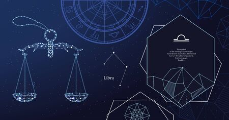 Signo zodiacal Libra. El símbolo del horóscopo astrológico. Banner horizontal.