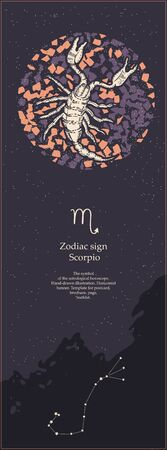 Zodiac sign Scorpio. The symbol of the astrological horoscope. Hand-drawn illustration. Vertical banner. Template for postcard, brochure, page, booklet.