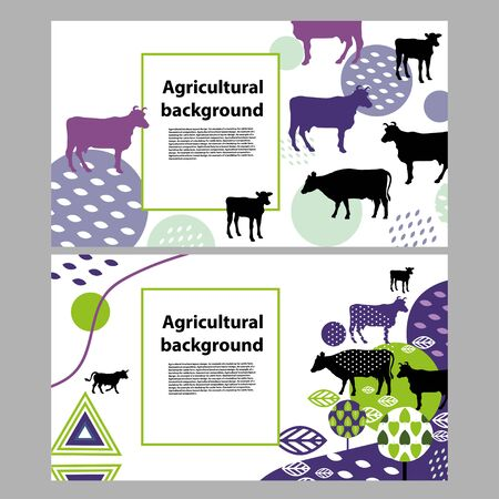 Horizontal banner with the image of cows and geometric shapes Ilustrace