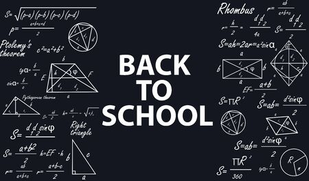 Banner back to school with geometric figures on a chalkboard.