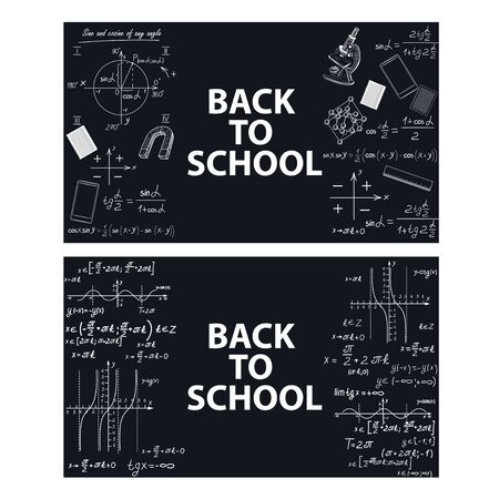 Images of educational tools and formulas on a chalk board.