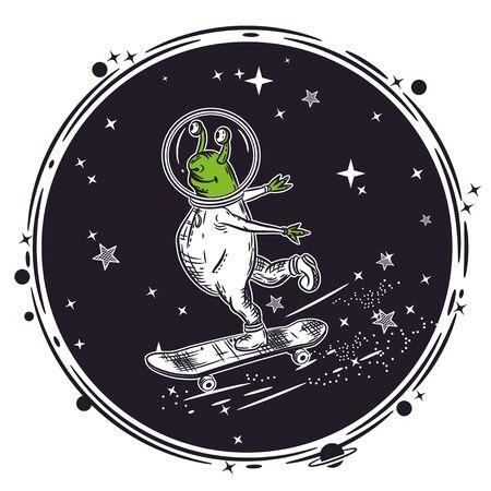 The alien skates on a skateboard. Vector illustration. Ilustración de vector