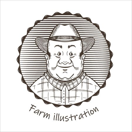 Agricultural illustration. Portrait of a man in a hat.