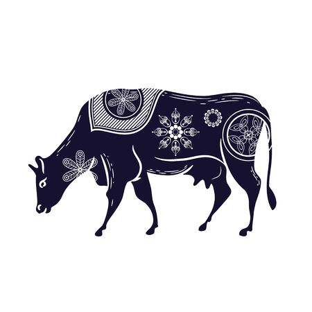 Cow with a flower pattern. Vector image. Horned cattle Vectores