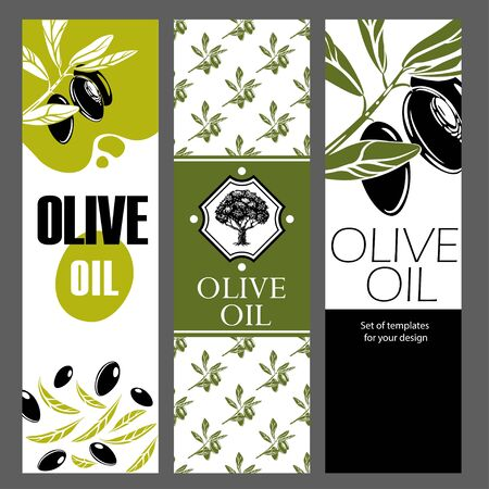 Set of templates for olive oil. Hand drawn illustrations. Illustration