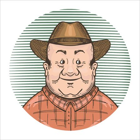 Vector image of an old farmer in a hat. Round emblem.