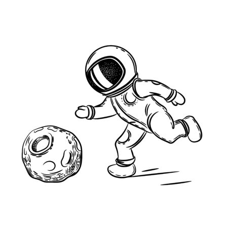 Astronaut plays football. Vector illustration on the theme of astronomy. Coloring page