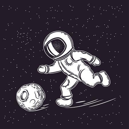 Astronaut plays football. Space vector illustration. Outer space Ilustração