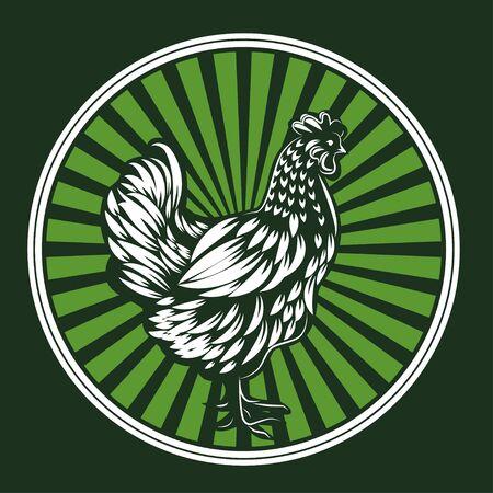 Vector illustration of chicken. White hen Logo illustration.