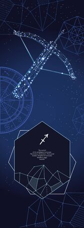 Template for astrological banner. Sagittarius zodiac sign. Illustration