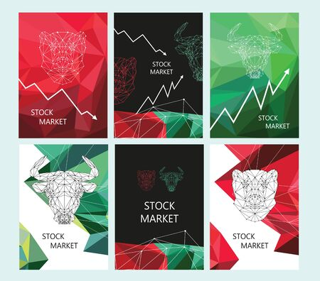 Stock market brochure layout design. Polygonal image of a bull and a bear.