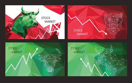 Stock Market Trend Symbols. Set of horizontal banners.