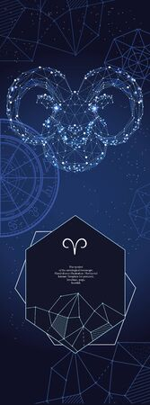 Template for astrological banner. Aries zodiac sign.