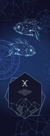 Template for astrological banner. Pisces zodiac sign. 向量圖像