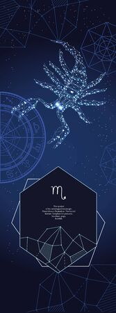 Template for astrological banner. Scorpio zodiac sign.