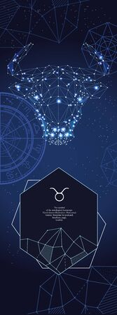 Template for astrological banner. Taurus zodiac sign.