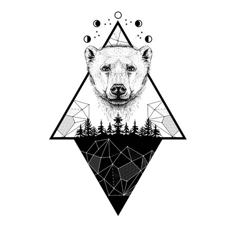 image of a bear, moon phases, forest and triangles. Tattoo art. T-shirt design