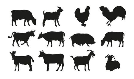 Large set of livestock silhouettes. Cow, bull, chicken, rooster, pig, goat.