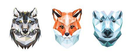 Polygonal portraits of fox, wolf and polar bear. Set of illustrations.  イラスト・ベクター素材