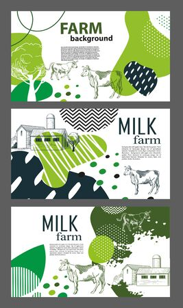 Horizontal banners with the image of cows and geometric shapes. Set of agricultural backgrounds. Three banners.