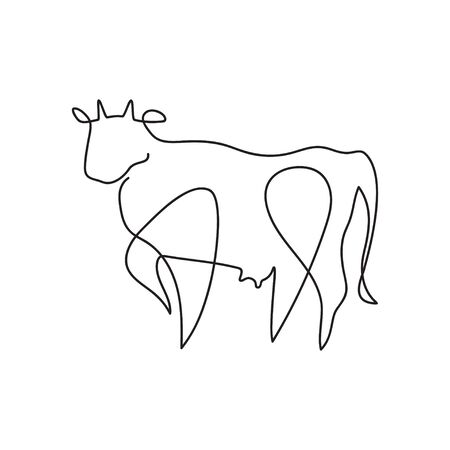 Farm animal graphics in a minimalistic style. Cattle. 스톡 콘텐츠 - 129771655