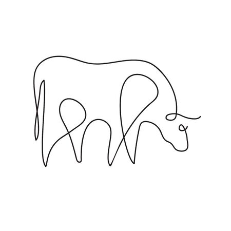 Farm animal graphics in a minimalistic style. Cattle.