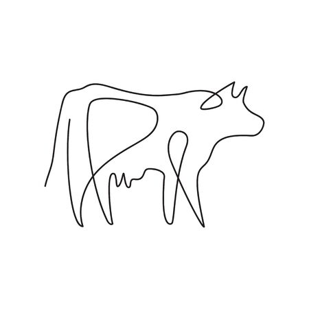 Farm animal graphics in a minimalistic style. Cattle. 스톡 콘텐츠 - 129771656