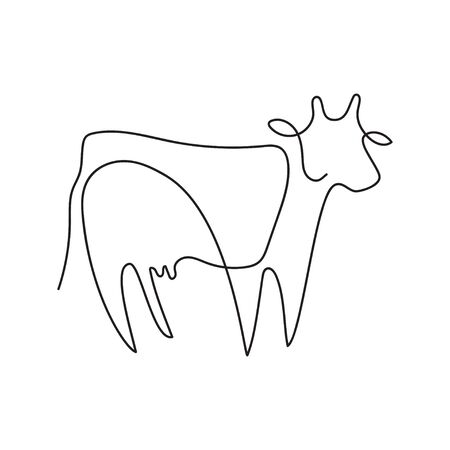 Farm animal graphics in a minimalistic style. Cattle. 스톡 콘텐츠 - 129771660