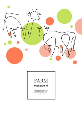 Agricultural background with cows and circles. Drawings in one line.