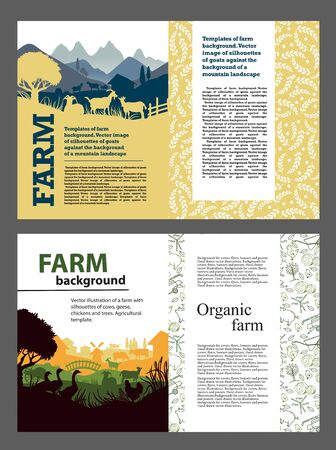 Reihe von Farm-Hintergründen. Silhouetten von Ziegen, Hühnern, Gänsen, Häusern. Vorlagen für Poster, Flyer, Prospekte, Broschüren, Zeitschriften Vektorgrafik