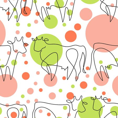 Seamless pattern with cows and circles. Farm animal.  イラスト・ベクター素材