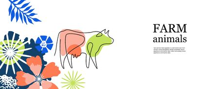 Horizontal agricultural banner. Cow drawn in one line.  イラスト・ベクター素材
