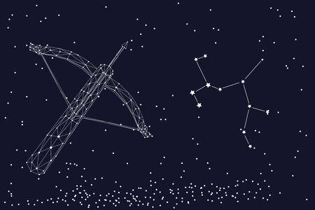 Zodiac sign Sagittarius. The symbol of the astrological horoscope. Horizontal banner.