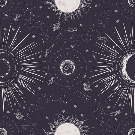 Seamless pattern. Signs of the zodiac, phases of the moon, sun and moon. Engraving style. Vintage background.