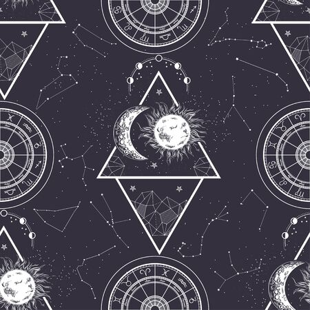 Seamless pattern. Signs of the zodiac, phases of the moon, sun and moon.
