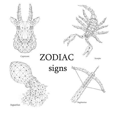 Set of zodiac signs. Capricorn, Scorpio, Aquarius and Archer. Illustration