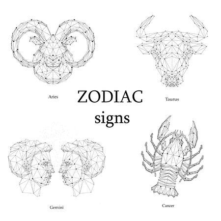 Set of zodiac signs. Aries, Taurus, Gemini, Cancer. Illustration