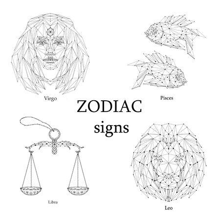 Set of zodiac signs. Virgo, Pisces, Libra, Leo.