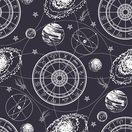 Seamless pattern. Signs of the zodiac, ecliptic, stars, galaxies and planets. Illustration
